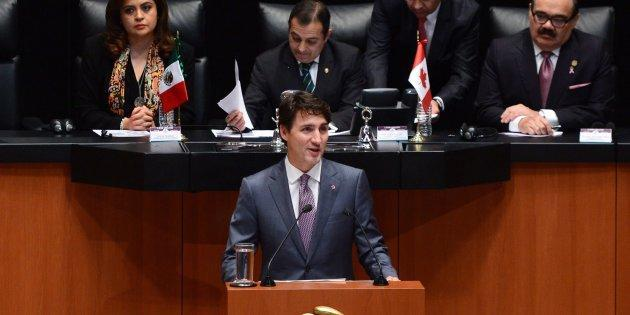 Prime Minister Justin Trudeau delivers a speech to the Mexican Senate in Mexico City on Oct. 13, 2017.