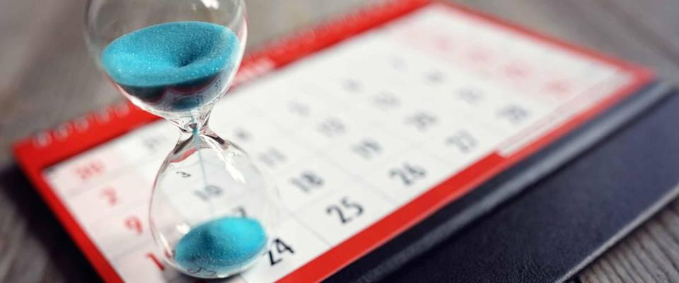 Hour glass of calendar concept for sliding time for important appointment date, schedule and last day