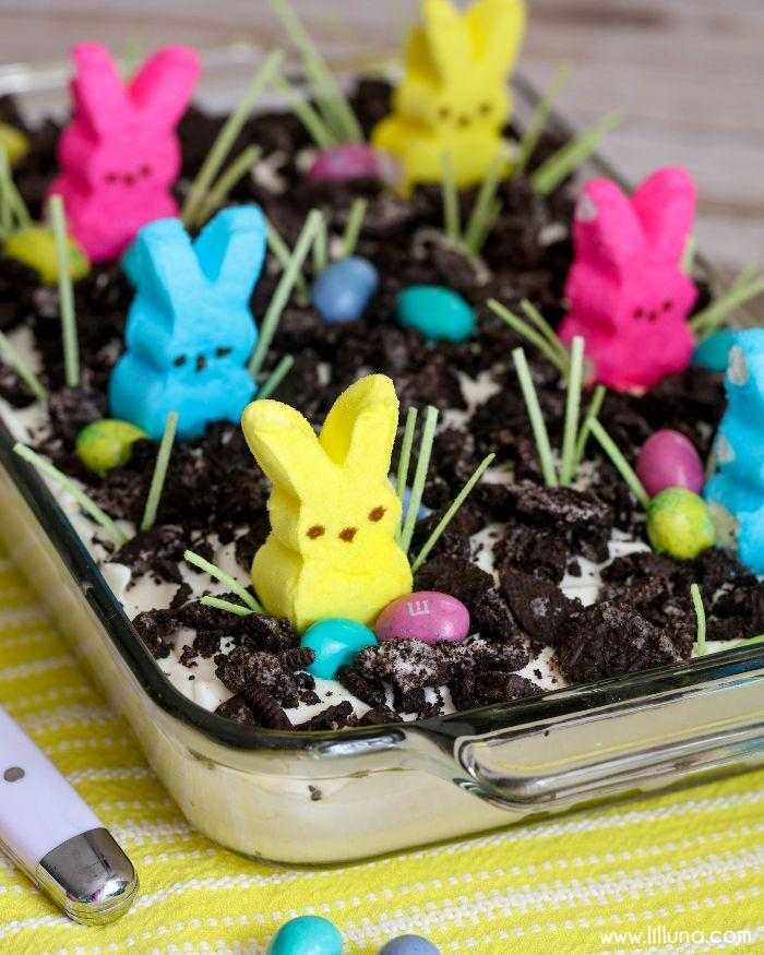 "<p>For an instant dessert, simply spread the ingredients in a baking dish and top with candy.</p><p><a href=""http://lilluna.com/easter-dirt-cake/"" rel=""nofollow noopener"" target=""_blank"" data-ylk=""slk:Get the recipe from lil' luna »"" class=""link rapid-noclick-resp""><em>Get the recipe from lil' luna »</em></a></p>"
