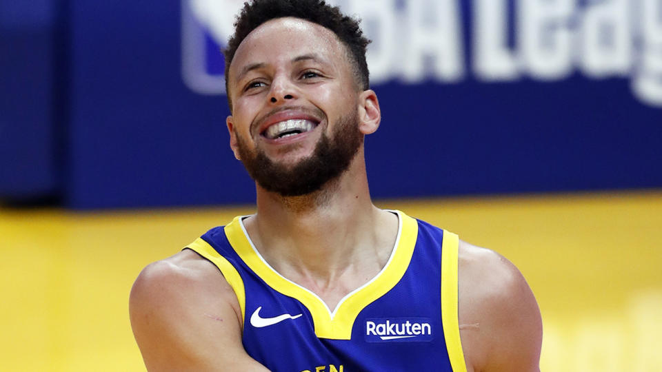 Golden State Warriors superstar Steph Curry has shattered the record for three-pointers made in one month, with 85 so far with two games remaining. (Scott Strazzante/The San Francisco Chronicle via Getty Images)