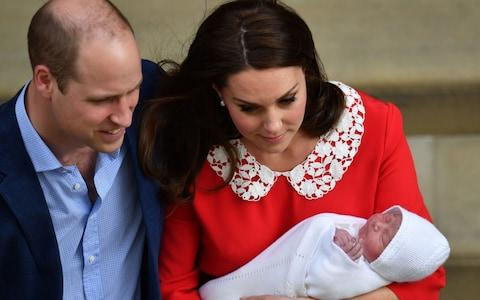 he Duke and Duchess of Cambridge and their newborn son outside the Lindo Wing at St Mary's Hospital in Paddington - Credit: John Stillwell/PA