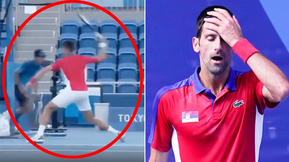 Novak Djokovic can be seen here smashing a racquet in his loss to Pablo Carreno-Busta at the Olympics.