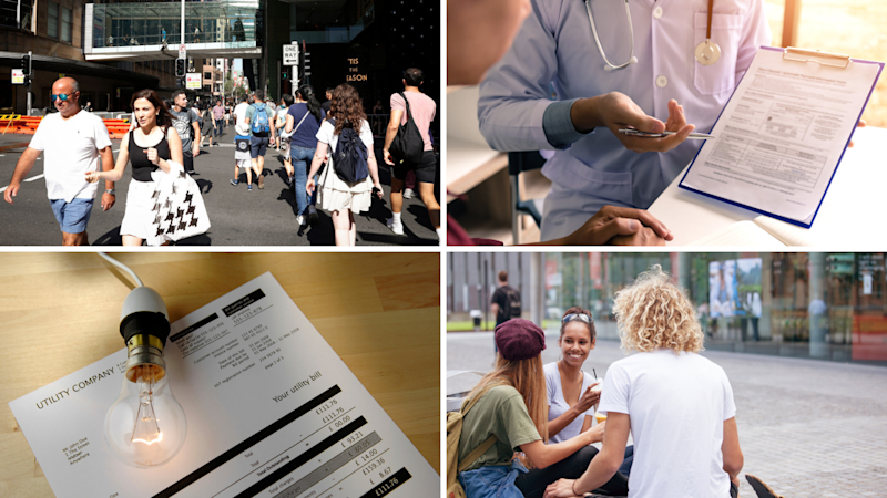 A split picture of pedestrians, a health form, an energy bill, and students.