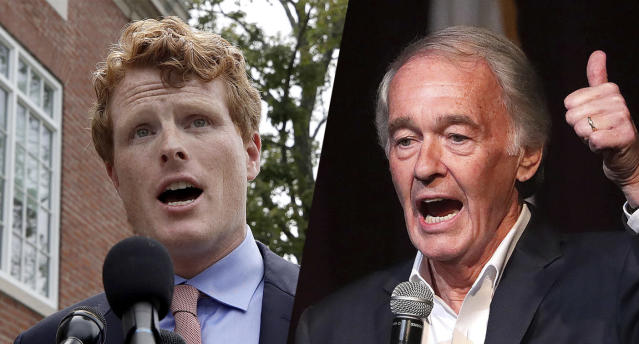 Rep. Joe Kennedy III, D-Mass., and Sen. Ed Markey, D-Mass. (Photos: Elise Amendola, Barry Chin/The Boston Globe via Getty Images)