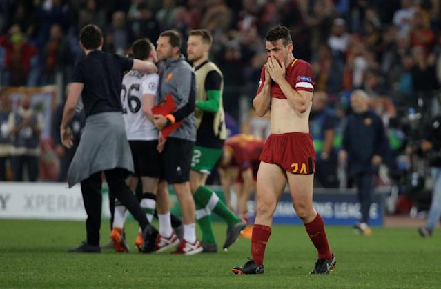 Soccer Football - Champions League Semi Final Second Leg - AS Roma v Liverpool - Stadio Olimpico, Rome, Italy - May 2, 2018 Roma's Alessandro Florenzi looks dejected after the match REUTERS/Max Rossi