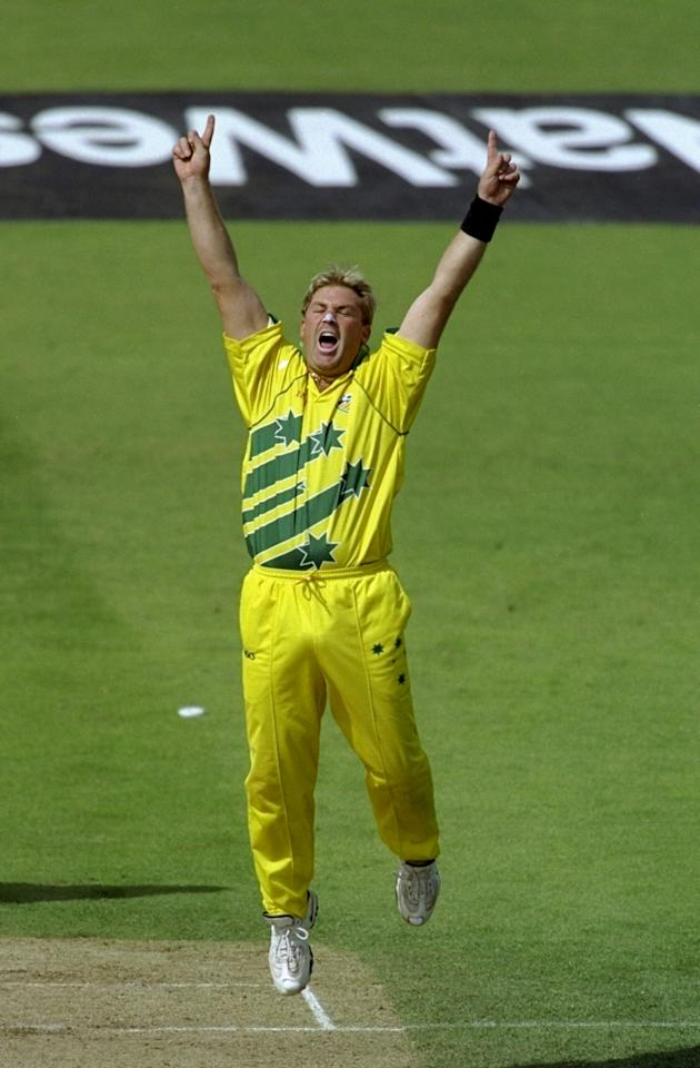 17 Jun 1999:  Shane Warne of Australia celebrates a South African wicket in the World Cup semi-final at Edgbaston in Birmingham, England. Warne took 4 for 29 and the Man of the Match award as the match finished a tie and Australia went through after finishing higher in the Super Six table. \ Mandatory Credit: Adrian Murrell /Allsport