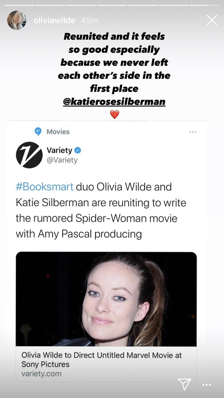 Olivia Wilde shares Spider-Woman news on Instagram. (Olivia Wilde/Instagram)