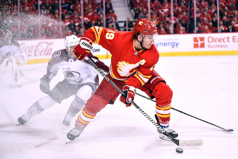 CALGARY, AB - APRIL 11: Calgary Flames Left Wing Matthew Tkachuk (19) skates with the puck in the Colorado Avalanche zone during the second period of Game One of the Western Conference First Round during the 2019 Stanley Cup Playoffs where the Calgary Flames hosted the Colorado Avalanche on April 11, 2019, at the Scotiabank Saddledome in Calgary, AB. (Photo by Brett Holmes/Icon Sportswire via Getty Images)
