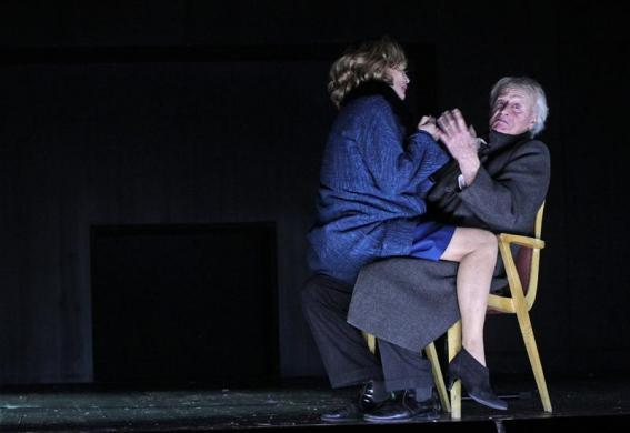 Actors Helmut Lohner (R) and Andrea Jonasson perform during a dress rehearsal of Henrik Ibsen's play 'John Gabriel Borkman' at Theater in der Josefstadt in Vienna, February 28, 2012.
