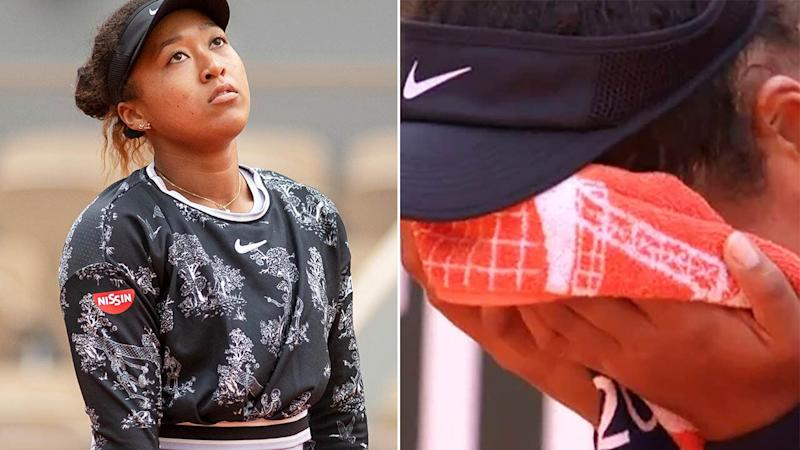 Naomi Osaka cried into her towel. Image: Getty/ITV