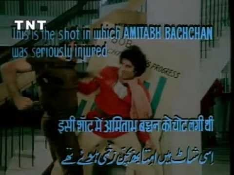 The action scene from the film <i>Coolie </i>which in theatres was paused at this exact moment when Amitabh Bachchan was near fatally punched by Puneet Issar in 1982.
