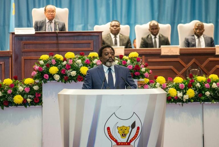 In a long speech enumerating his government's policies, Kabila did not spell out whether he would seek a new term in office