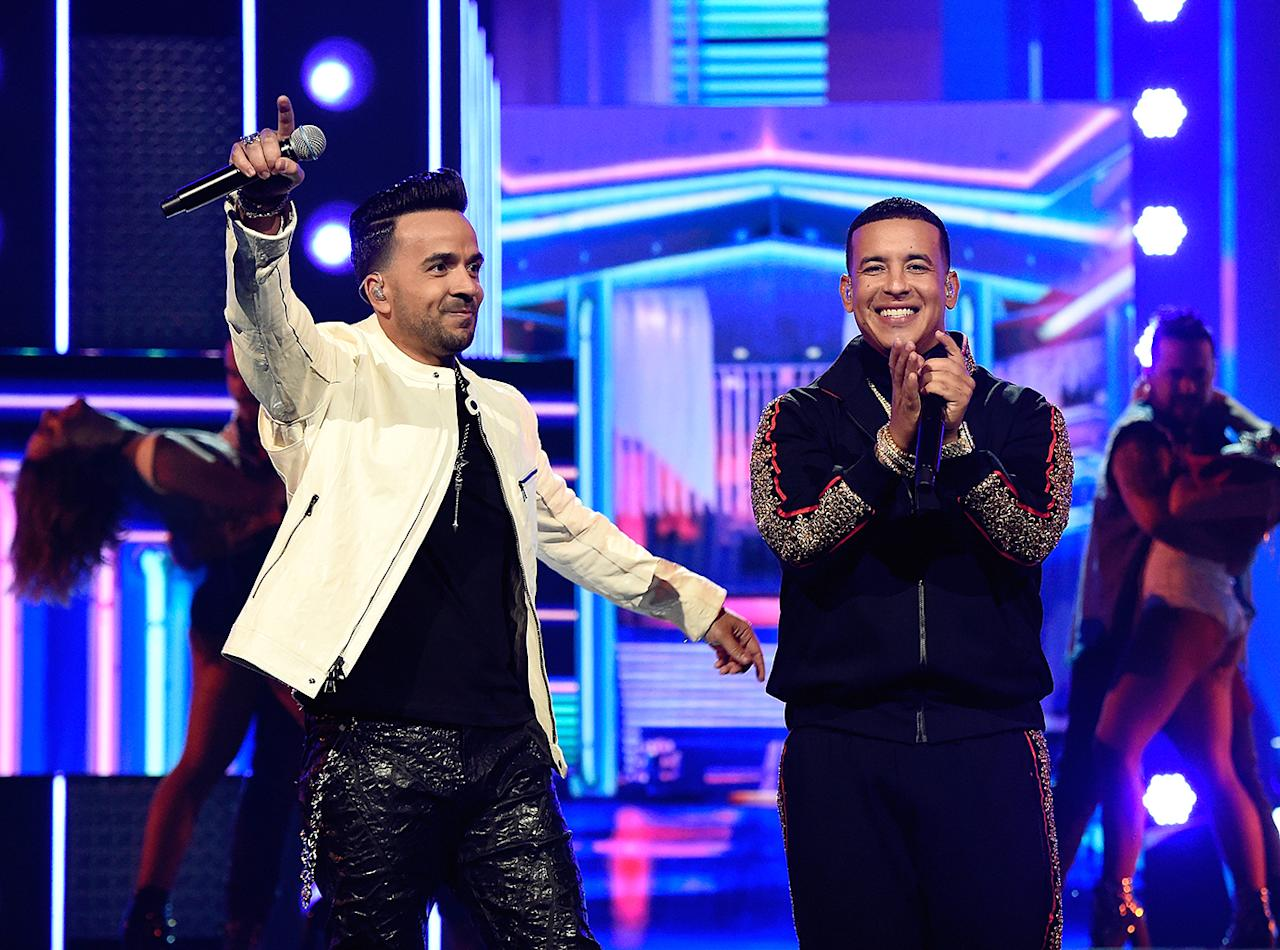 "<p>""Despacito"" topped Billboard's Hot 100 for 16 weeks, the longest run at No. 1 since the Mariah Carey/Boyz II Men smash ""One Sweet Day,"" 22 years ago. But it lost Record of the Year, Song of the Year, and even Best Pop Duo/Group Performance. (Photo: Kevin Mazur/Getty Images for NARAS) </p>"