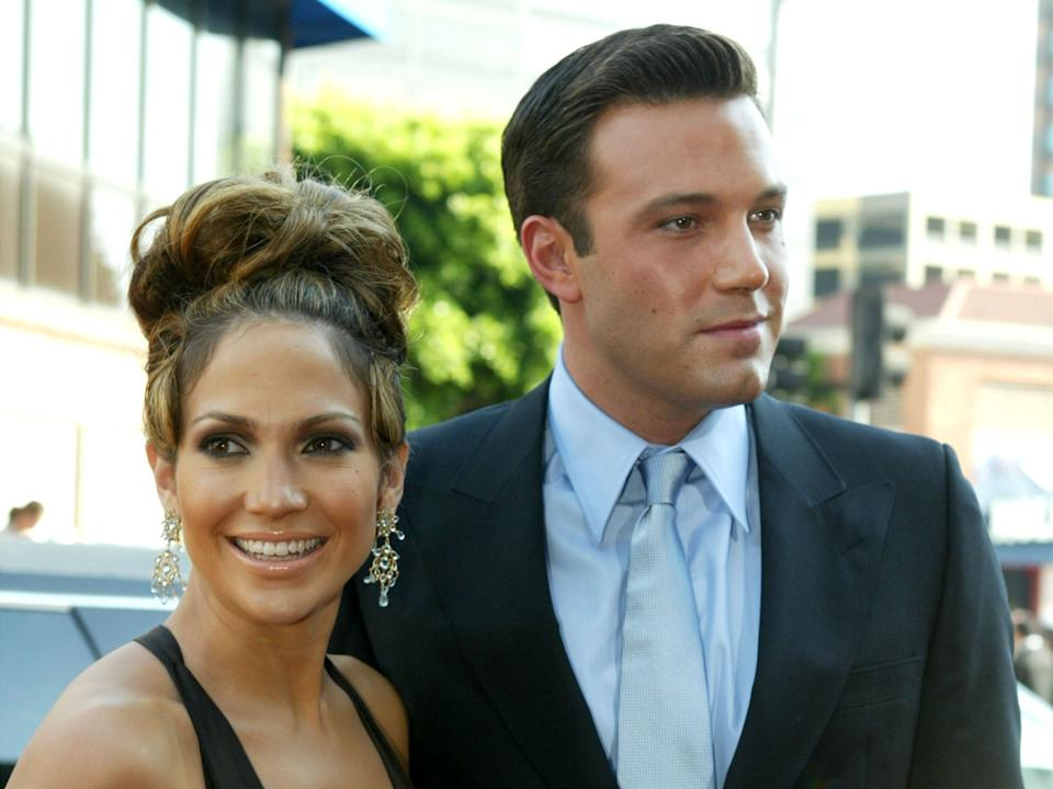 Former couple Jennifer Lopez and Ben Affleck attend the Gigli premiere in 2003 (Kevin Winter/Getty Images)