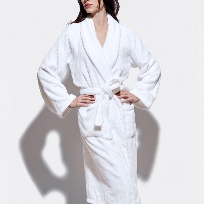 "Thick bathrobes tend to hold onto a lot of water, but Snowe's classic style somehow manages to be both plush and quick-drying. It's unisex, so snag one for yourself and whoever's on your <a href=""https://www.glamour.com/gallery/valentines-day-gift-ideas-for-him?mbid=synd_yahoo_rss"" rel=""nofollow noopener"" target=""_blank"" data-ylk=""slk:Valentine's Day gift list"" class=""link rapid-noclick-resp"">Valentine's Day gift list</a>. $100, Snowe. <a href=""https://snowehome.com/products/classic-terry-bathrobe?"" rel=""nofollow noopener"" target=""_blank"" data-ylk=""slk:Get it now!"" class=""link rapid-noclick-resp"">Get it now!</a>"