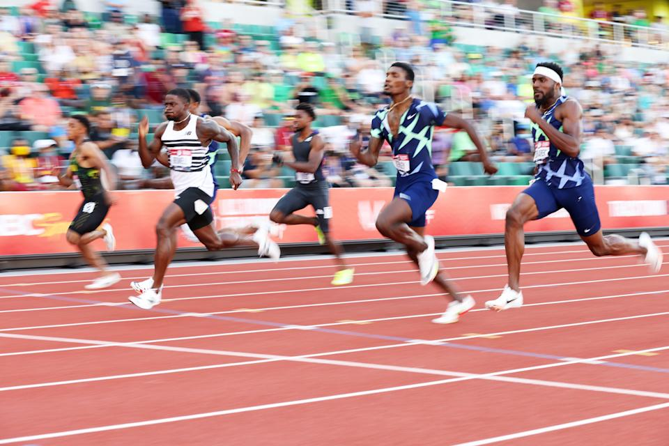 Trayvon Bromell (second from left) is the favorite to win the 100 meters in Tokyo, but he will face a challenge from U.S. teammate Ronnie Baker (second from right).