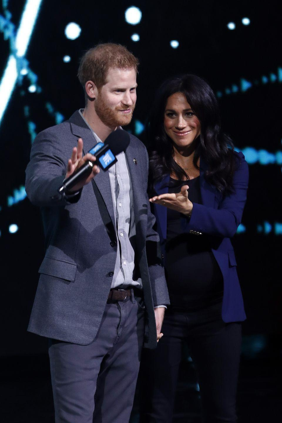 <p>Markle surprised the crowds at WE Day by joining her husband on stage.</p>
