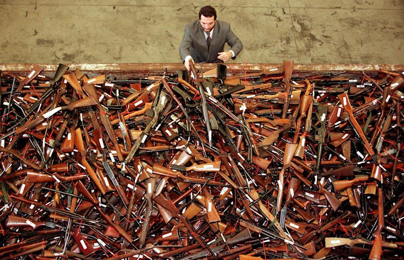 Guns handed in during the 1996 buyback program in Sydney. More than 700,000 firearms were handed over in the government program.