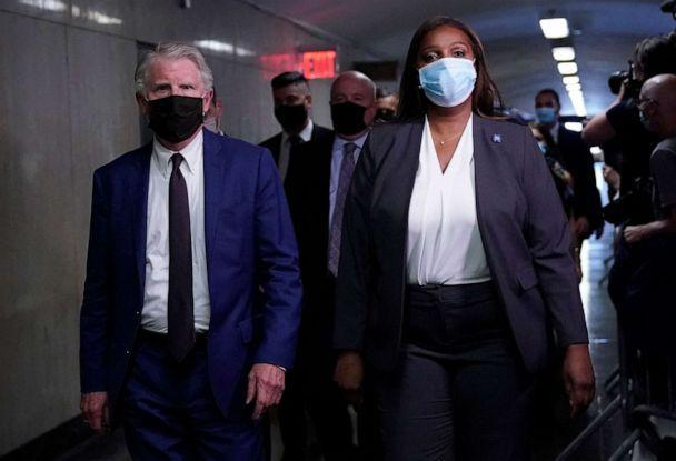 PHOTO: Cyrus Roberts Vance Jr. District Attorney of New York County and New York State Attorney General Letitia James arrive in court for the hearing of Allen Weisselberg at the criminal court in lower Manhattan in New York, July 1, 2021. (Timothy A. Clary/AFP via Getty Images)