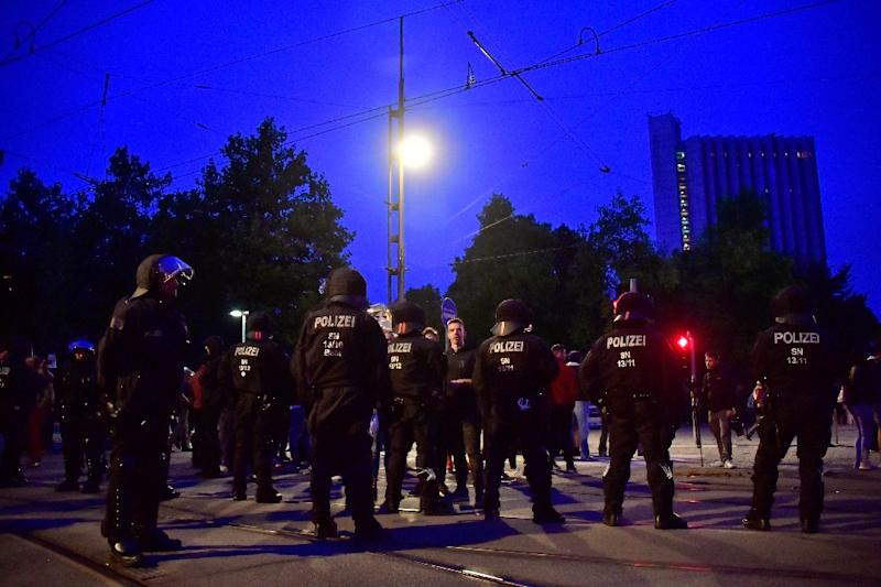Local police, backed up by officers from across Germany, were out in force to keep both sides from clashing during the demonstrations (AFP Photo/John MACDOUGALL)