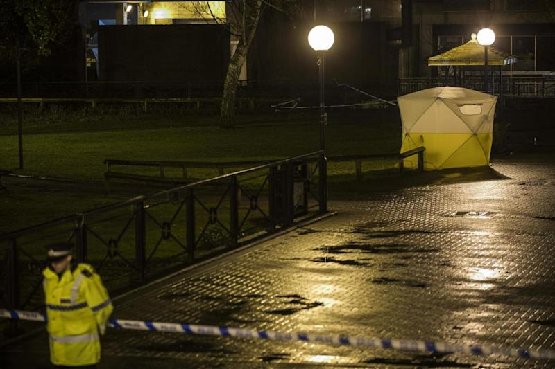 A forensics tent at the scene in Salisbury (Getty Images)