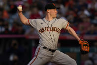 San Francisco Giants starting pitcher Anthony DeSclafani throws to the Los Angeles Angels during the second inning of a baseball game Tuesday, June 22, 2021, in Anaheim, Calif. (AP Photo/Marcio Jose Sanchez)