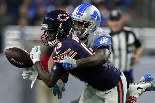 <p>Detroit Lions cornerback Nevin Lawson (24) deflects a pass intended for Chicago Bears wide receiver Kendall Wright (13) during the second half of an NFL football game, Saturday, Dec. 16, 2017, in Detroit. (AP Photo/Rey Del Rio) </p>