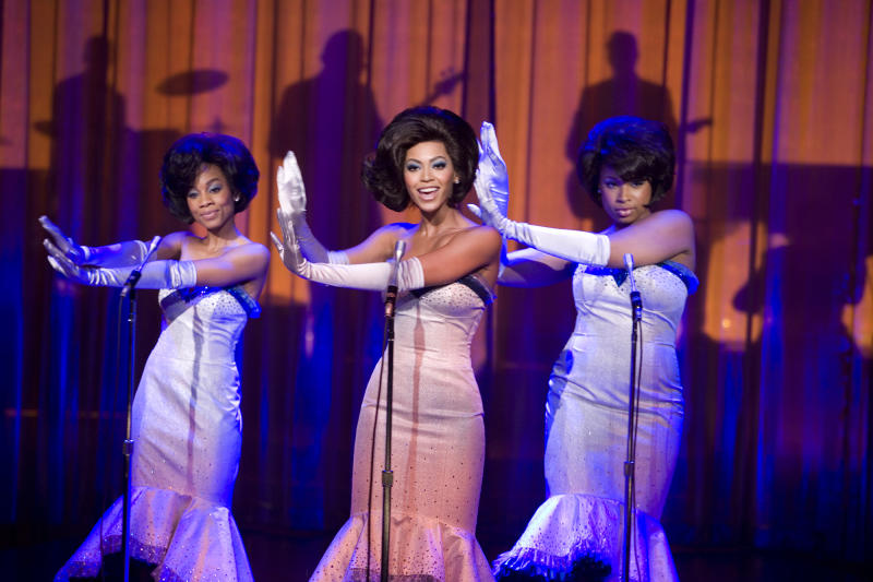 """FILE - In this undated file photo originally provided by Paramount Pictures, from left, Anika Noni Rose, Beyonce Knowles and Jennifer Hudson perform in """"Dreamgirls.""""  (AP Photo/Paramount Pictures,David James, File)"""