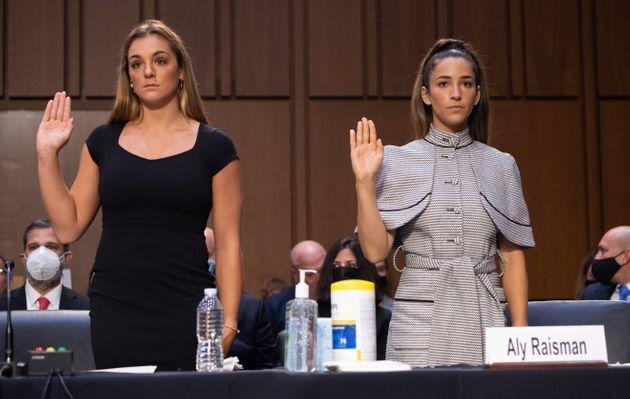 U.S. gymnasts Maggie Nichols (L) and Aly Raisman (R) are sworn in to testify during a Senate Judiciary hearing about the inspector general's report on the FBI's mishandling of the Larry Nassar investigation of sexual abuse, on Sept. 15, 2021. (Photo: Pool via Getty Images)