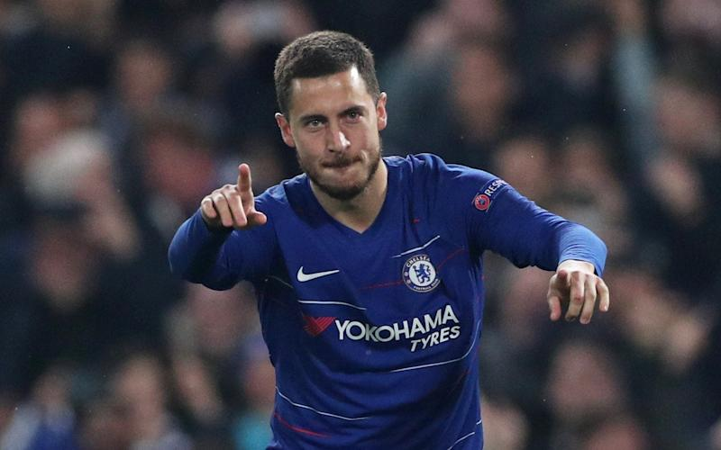 Eden Hazard scores the decisive penalty kick in the shootout to put Chelsea through to the Europa League final - REUTERS