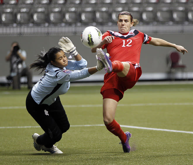 VANCOUVER, CANADA - JANUARY 23:  Christine Sinclair #12 of Canada chips the ball over Julieth Arias #1 of Costa Rica for Canada's first goal during the 2012 CONCACAF Women's Olympic Qualifying Tournament at BC Place on January 23, 2012 in Vancouver, British Columbia, Canada.  (Photo by Jeff Vinnick/Getty Images)