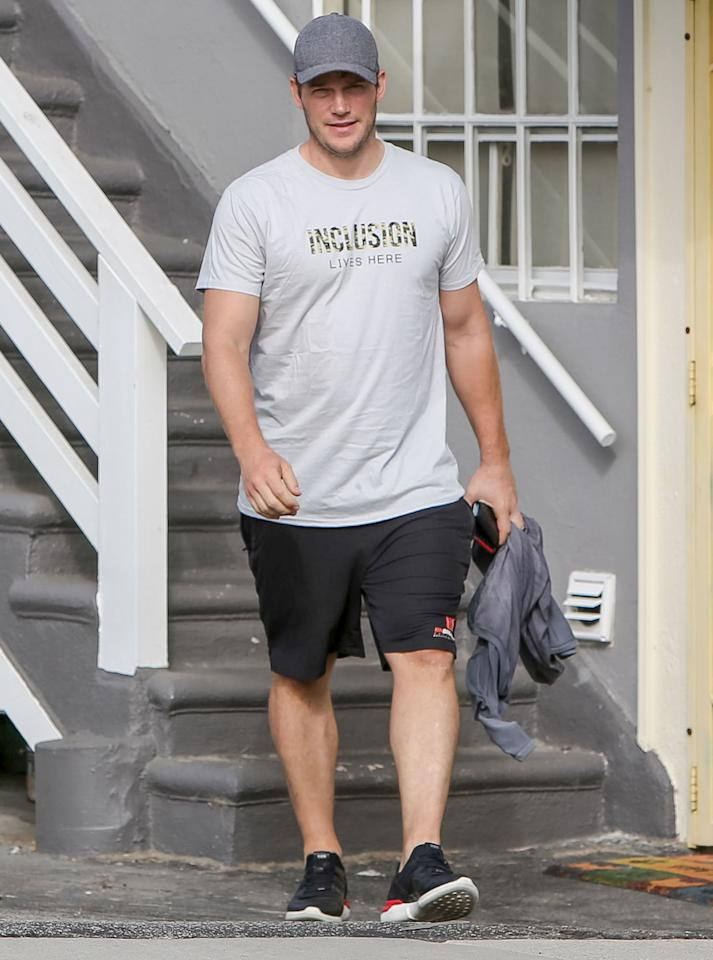 A smiling Chris Pratt leaves a gym in Los Angeles on Thursday, following a workout.