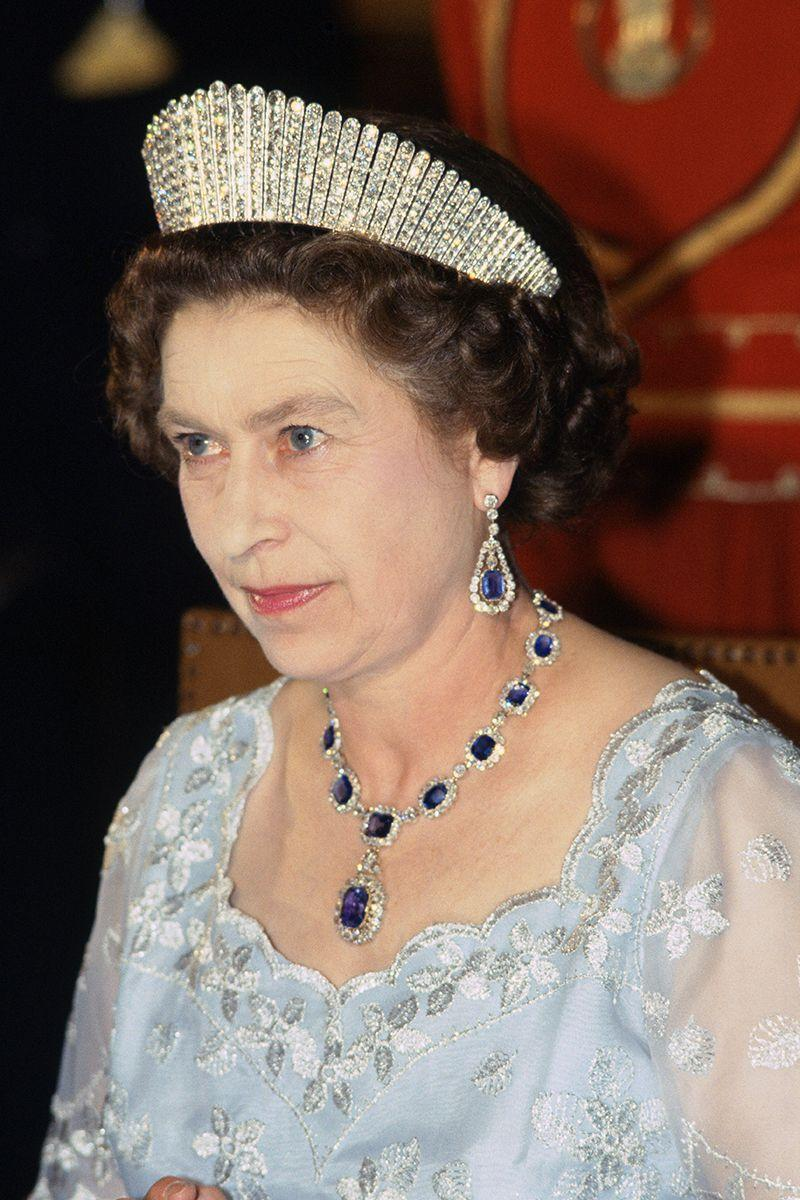 <p>Another from the Queen's personal collection, the Kokoshnik tiara is named after the traditional Russian headdress of the same name. It was made by Garrard in 1888 for Alexandra, the then Princess of Wales, to mark her 25th wedding anniversary. Queen Mary inherited the tiara from Alexandra, and the Queen inherited it when Queen Mary died in 1953.</p>