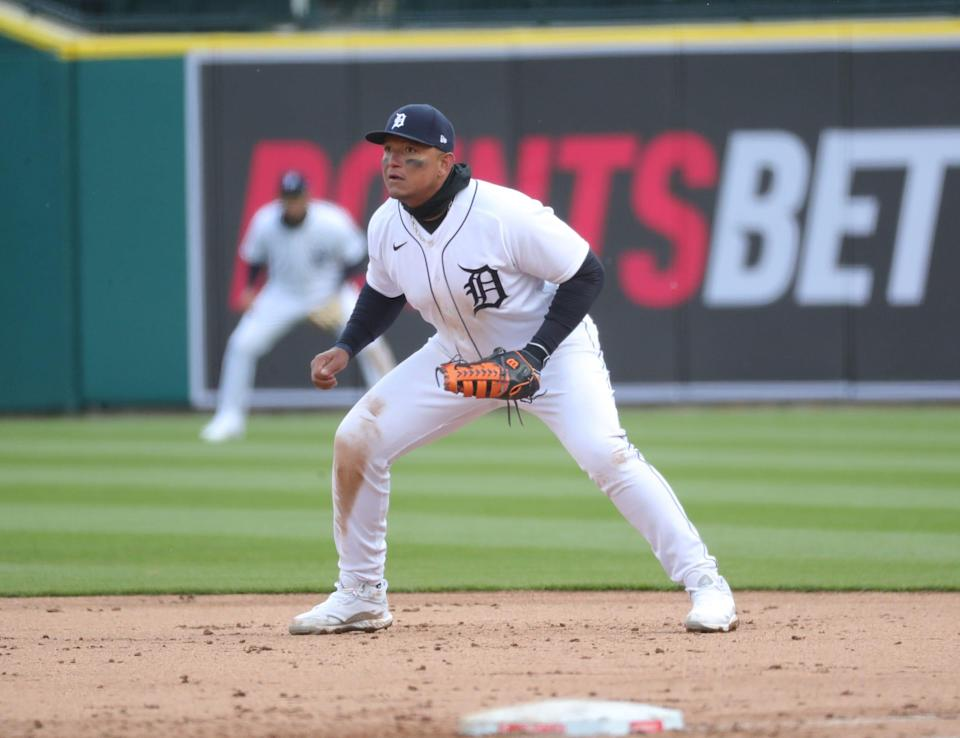 Tigers first baseman Miguel Cabrera during the fourth inning of the 3-2 win over the Indians on Opening Day on Thursday, April 1, 2021, at Comerica Park.