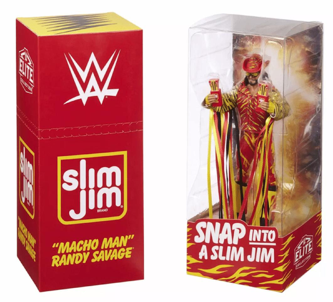 Remember those bizarre Slim Jim commercials from the '90s? This action figure commemorates the late WWE wrestler Randy Savage in his iconic outfit from the ads, complete with Slim Jim packaging.