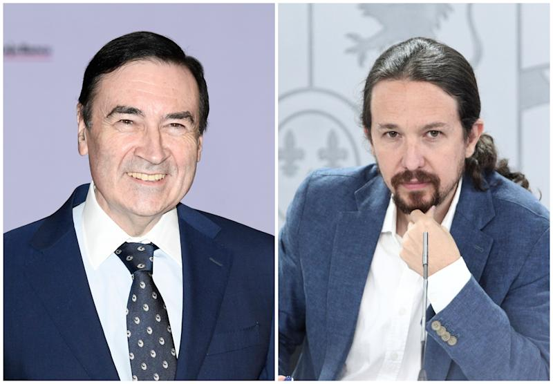 Pedro J. Ramírez, director de 'El Español', y Pablo Iglesias, vicepresidente segundo del Gobierno. (Foto: Carlos Alvarez / Getty Images / E. Parra / Pool / Europa Press / Getty Images).