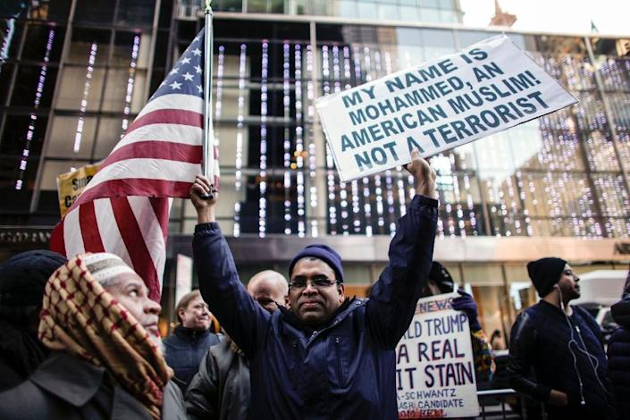 Trump has floated the idea of a ban on Muslims coming to the United States, drawing a fierce backlash from immigration experts and America's Muslim community (AFP Photo/KENA BETANCUR)