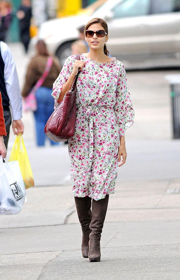 """Eva Mendes certainly didn't do herself any favors by sporting this frightening floral frock with brown knee-high boots while running errands in NYC. Ron Asadorian/<a href=""""http://www.splashnewsonline.com"""" target=""""new"""">Splash News</a> - March 8, 2009"""