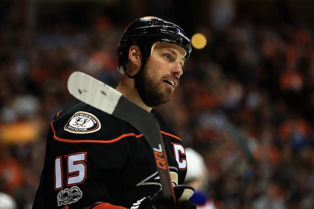 "ANAHEIM, CA – APRIL 28: <a class=""link rapid-noclick-resp"" href=""/nhl/players/3357/"" data-ylk=""slk:Ryan Getzlaf"">Ryan Getzlaf</a> #15 of the <a class=""link rapid-noclick-resp"" href=""/nhl/teams/ana/"" data-ylk=""slk:Anaheim Ducks"">Anaheim Ducks</a> looks on during the second period of Game Two of the Western Conference Second Round during the 2017 NHL Stanley Cup Playoffs against the <a class=""link rapid-noclick-resp"" href=""/nhl/teams/edm/"" data-ylk=""slk:Edmonton Oilers"">Edmonton Oilers</a> at Honda Center on April 28, 2017 in Anaheim, California. (Photo by Sean M. Haffey/Getty Images)"