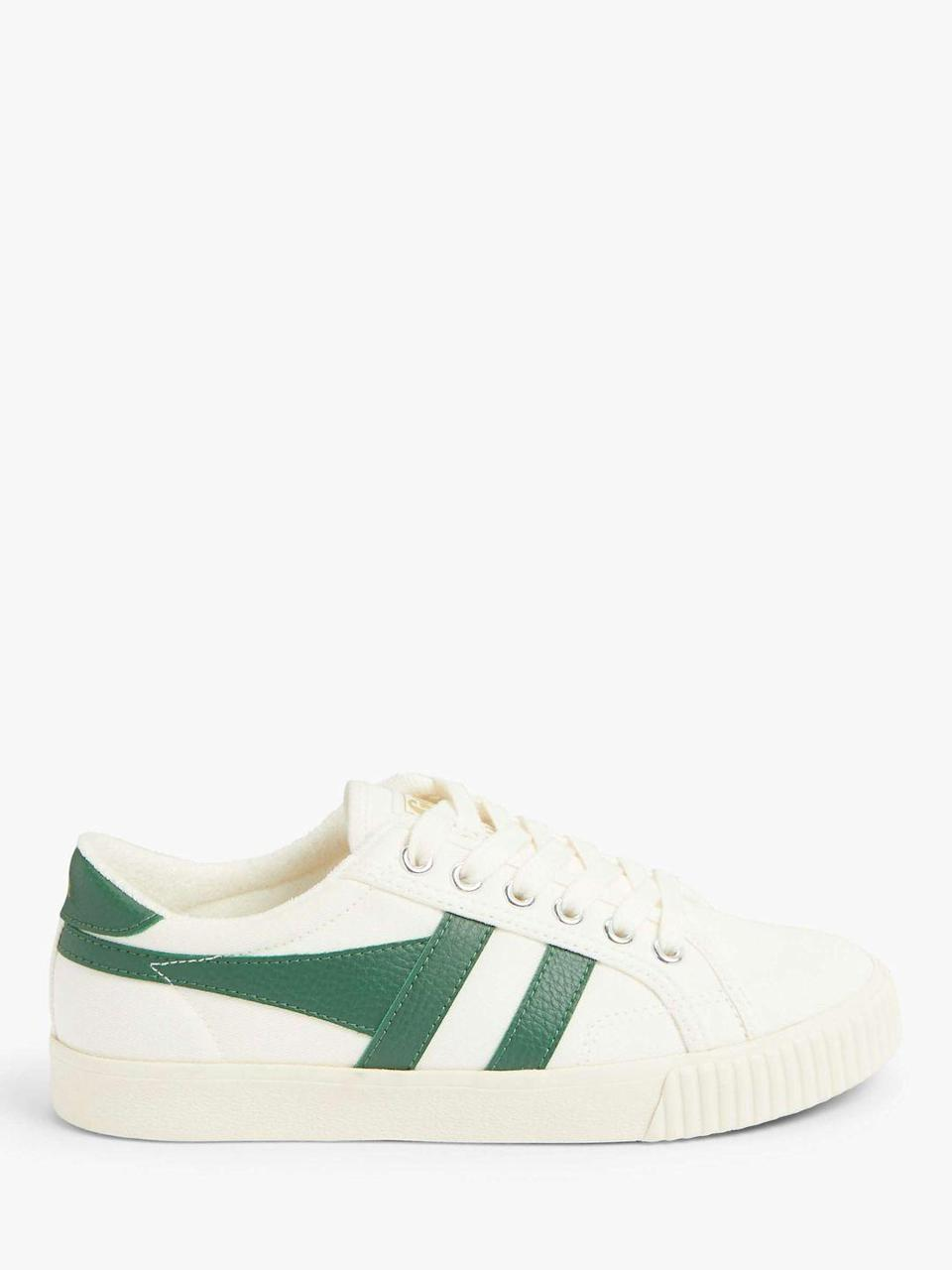 """<p><strong>Which style? </strong>Tennis Mark Cox Trainer</p><p><strong>How much? </strong>£50<br><br><a class=""""link rapid-noclick-resp"""" href=""""https://go.redirectingat.com?id=127X1599956&url=https%3A%2F%2Fwww.johnlewis.com%2Fgola-tennis-mark-cox-trainers-off-white-dark-green%2Fp5121318&sref=https%3A%2F%2Fwww.womenshealthmag.com%2Fuk%2Ffitness%2Fg28619284%2Fvegan-trainers%2F"""" rel=""""nofollow noopener"""" target=""""_blank"""" data-ylk=""""slk:SHOP NOW"""">SHOP NOW</a><br><br>Ok, technically Gola's plimsolls aren't just for fashion purposes because you could definitely <a href=""""https://www.womenshealthmag.com/uk/fitness/a32638553/tennis-rules/"""" rel=""""nofollow noopener"""" target=""""_blank"""" data-ylk=""""slk:play tennis"""" class=""""link rapid-noclick-resp"""">play tennis</a> in them. Still, we'd like a pair in our off-duty wardrobes for wearing with jeans and floral midi dresses.<br><br>This newer version of the brand's classic Marc Cox design is approved by The Vegan Society and tested<br>with Ve-Map technology (a process to identify any traces of animal DNA).</p>"""