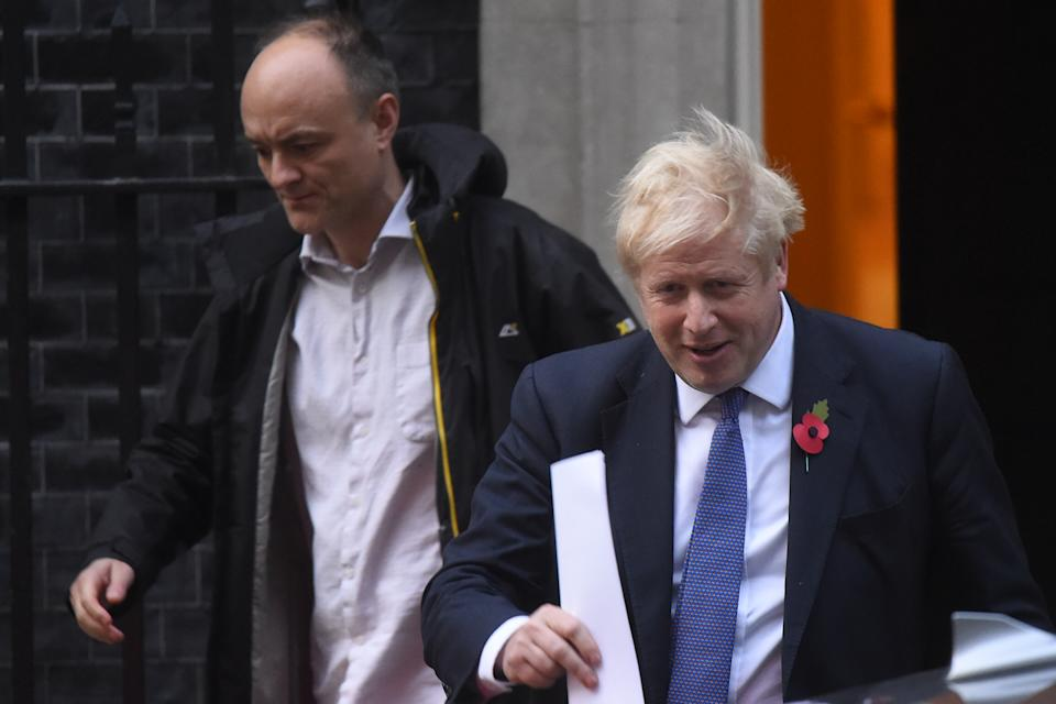 LONDON, ENGLAND - OCTOBER 28: Prime Minister Boris Johnson and his political advisor Dominic Cummings leave 10 Downing Street on October 28, 2019 in London, England. EU leaders have announced that an agreement to extend Brexit until 31 January 2020 has been agreed in principle. (Photo by Peter Summers/Getty Images)