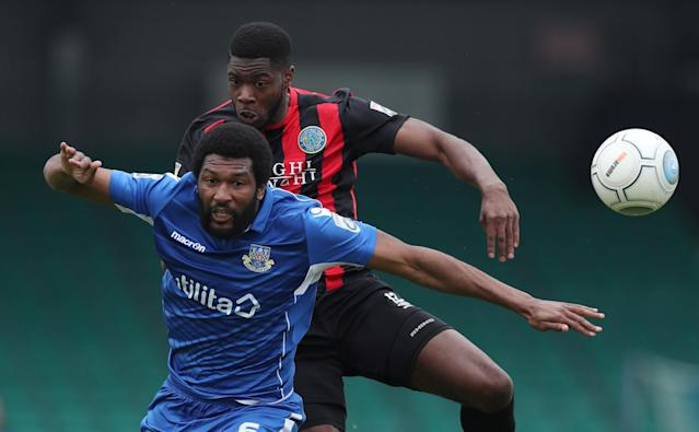 "Soccer Football - National League - Eastleigh v Macclesfield Town - The Silverlake Stadium, Eastleigh, Britain - April 21, 2018 Eastleigh's Reda Johnson in action with Macclesfield Town's Nathan Blissett Action Images/Peter Cziborra EDITORIAL USE ONLY. No use with unauthorized audio, video, data, fixture lists, club/league logos or ""live"" services. Online in-match use limited to 75 images, no video emulation. No use in betting, games or single club/league/player publications. Please contact your account representative for further details."