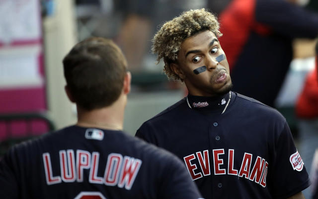 Cleveland Indians' Francisco Lindor, right, jokes in the dugout with Jordan Luplow during the team's baseball game against the Los Angeles Angels on Wednesday, Sept. 11, 2019, in Anaheim, Calif. (AP Photo/Marcio Jose Sanchez)