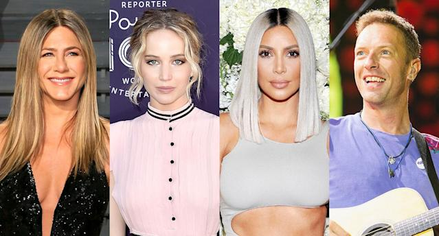 Jennifer Aniston, left, Jennifer Lawrence, Kim Kardashian, and Chris Martin. (Photo: Getty Images)