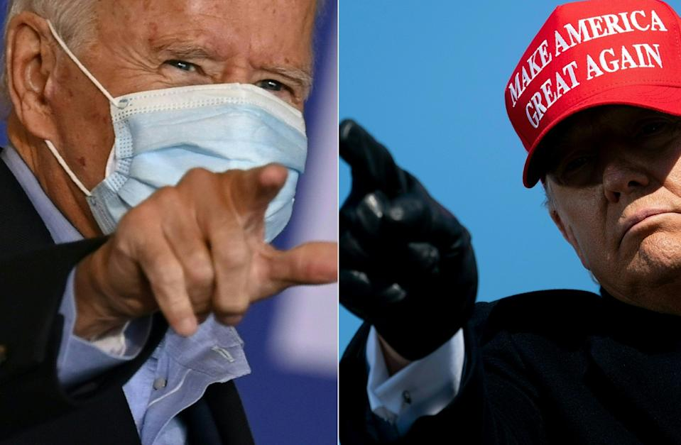(COMBO) This combination of pictures created on November 06, 2020 shows Democratic presidential candidate Joe Biden on November 2, 2020 in Cleveland, Ohio and US President Donald Trump on November 2, 2020, in Fayetteville, North Carolina. - With results showing Democratic challenger Joe Biden edging closer to victory on Friday November 06, 2020, Trump made a series of fraud allegations without evidence on Thursday night in a speech that was widely condemned. (Photos by JIM WATSON and Brendan Smialowski / AFP) (Photo by JIM WATSON,BRENDAN SMIALOWSKI/AFP via Getty Images)