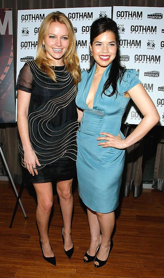 "America Ferrera celebrated her Gotham Magazine cover with costar Becki Newton at Pranna in New York City. The ""Ugly Betty"" star has never looked more beautiful! Jemal Countess/<a href=""http://www.wireimage.com"" target=""new"">WireImage.com</a> - April 6, 2009"