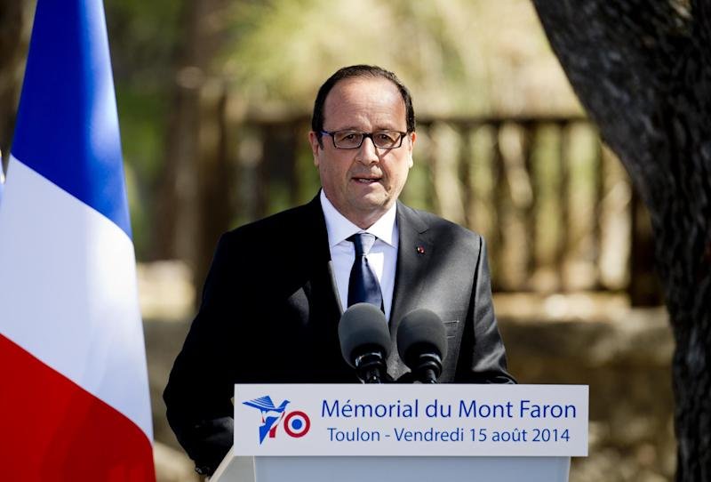 French President Francois Hollande delivers a speech during ceremonies to mark the 70th anniversary of the Allied landing in Provence, on August 15, 2014 at the Mont Faron memorial, in Toulon