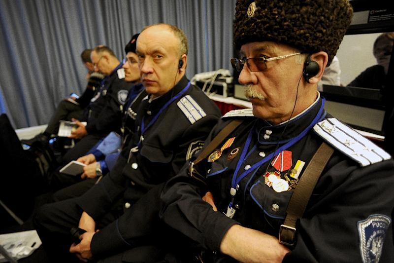 Cossacks take part in the International Russian Conservative Forum in Saint-Petersburg on March 22, 2015 (AFP Photo/Olga Maltseva)