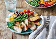 """<p><strong>Recipe: </strong><a href=""""https://www.southernliving.com/recipes/chicken-nicoise-salad-recipe"""" rel=""""nofollow noopener"""" target=""""_blank"""" data-ylk=""""slk:Chicken Niçoise Salad"""" class=""""link rapid-noclick-resp""""><strong>Chicken Niçoise Salad</strong></a></p> <p>Arrange this pretty salad on individual plates or serve it on your favorite platter family-style.</p>"""