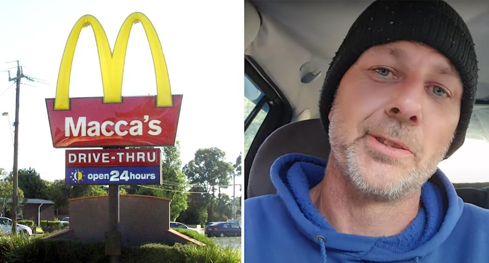 John Billing sits in his car (right) and a McDonald's drive-thru (left).